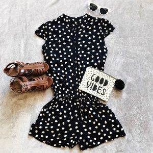 Navy Blue Kitty Cat Romper Casual Comfy